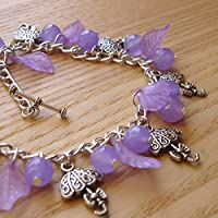 Purple Umbrella Charm Bracelet, Tibetan Jewellery, Gift for Her, Stocking Filler, Fashion Jewellery