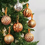 Valery Madelyn 24 Pcs 70mm Fashion Rose Gold Shatterproof Christmas Tree Baubles Ball Ornaments Decorations, 24 Pcs Metal Hooks Included
