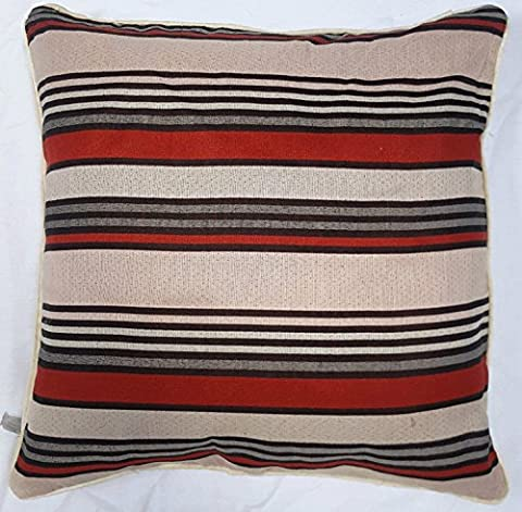 LUXURY ASIAN STYLE STRIPPED CUSHION & CUSHION COVER BLACK-RED 18
