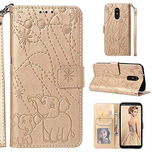Nadoli Hülle for LG Stylo 4,PU Ledertasche Prägung Elefant Wallet Lederhülle mit Kartenfach Magnetischer Flip Handyhülle Bookstyle Cover für LG Stylo 4-Gold