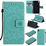 For Sony Xperia XA Case [Green],Cozy Hut [Wallet Case] Magnetic Flip Book Style Cover Case ,High Quality Classic New design Sunflower Pattern Design Premium PU Leather Folding Wallet Case With [Lanyard Strap] and [Credit Card Slots] Stand Function Folio Protective Holder Perfect Fit For Sony Xperia XA/F3116 5,0 - green