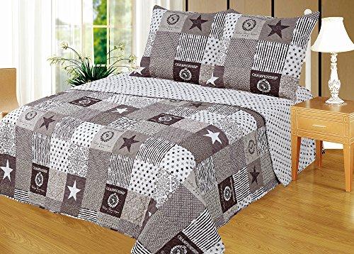 Montse Interiors 1702 Couvre-lit boutis + taies d'oreillers Moderne 230x260+2 cuadrantes (para cama de 135/150)