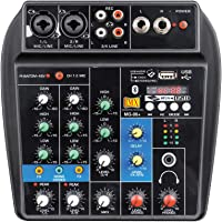 MX 4 Channel Audio Mixer Sound Mixing Console with Bluetooth USB Record 48V Phantom Power Monitor Paths Plus Effects…