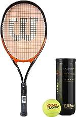 Wilson Racquet and Ball Tennis Kit (Match Point Tennis Racquet for Adults + US Open Tennis Ball, pack of 3)