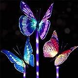(Paquete de 3) Luces solares para jardín al aire libre, luz de estaca solar, luces LED de colores para jardín, luces decorati