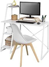 SoBuy Schreibtisch mit 3 Ablagen Computertisch mit Stuhl, weiß FWT29-W+FST58-W