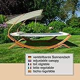 Textil Holz Doppel Gartenliege mit Sonnendach und Kissen von Ampel 24 - 3
