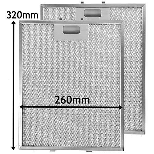 Spares2go Metall-Netzfilter für Homeking FW60.2SS Dunstabzugshaube/Abluftventilator (320 x 260 mm, 2 Stück)