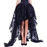 COSWE - Vestito da donna di pizzo con taglio irregolare, vestito nero punk