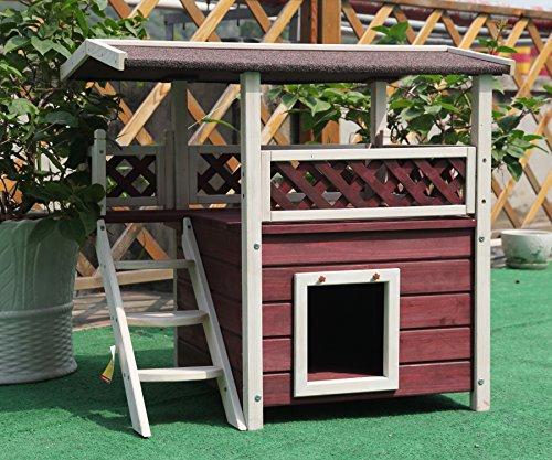 Petsfit Maison d'Extérieur pour Chats, Gîte en Bois pour Chat, Design à deux étages, Rouge Vin et Blanc, 76cm x 56cm x 73cm