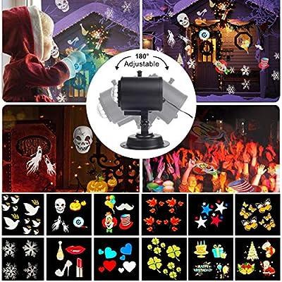 [Verbesserte Version] Projektionslampe,TECKCOOL LED Licht Projektor mit 12 Folien,wasserdicht IP44 Fernbedienung Bunte fließende Wasser Ripple Effekte für Halloween Weihnachtsfeiern Schlafzimmer Rasen Patio Yard
