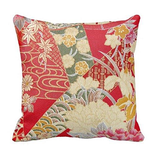 Japanische Kimono Blumenmuster Überwurf Kissen für Couch Home dekoratives Kissen Abdeckung 45,7x 45,7cm auf Leinwand, quadratisch Accent Kissen für Sofa und Couch -