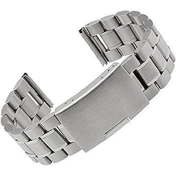 Moto 360 2 Watch Band (2nd Gen, 46mm 2015), Threemart Stainless Steel Watch Strap Adjustbable Bracelet Band for Motorola Moto 360 2 46mm Smart Watch (B - Silver)
