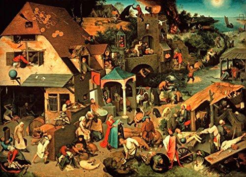 Kunstdruck/Poster: Pieter Bruegel der ÄltereDie niederländischen Sprichwörter - hochwertiger Druck, Bild, Kunstposter, 55x40 cm