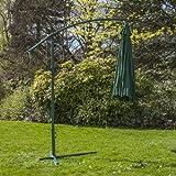 3M Garden Cantilever Banana Parasol Sun Shade Outdoor Patio Hanging Umbrella Choice of Colours (Green)