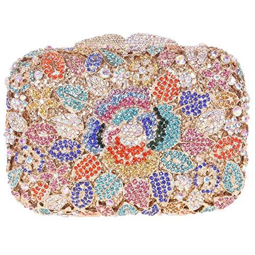 Santimon Donee Clutch Peonia Fiore Strass Diamante Cristallo Clutch Da Festa di Nozze Sera Con Tracolla Amovibile 7 Colori blu