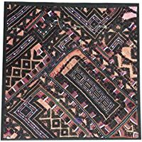 """Mogul Interior Indian Ethnic Pillow Kutch Embroidered Orange Patchwork Pillow Case 18"""" X 18"""""""