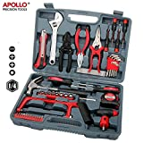 Apollo 53pc Household & Garage Tool Kit including Hammer, Hack Saw, Sockets, Adjustable Spanner, Hex Keys, Wire Strippers, Pliers, Tin Snips, Hex Keys, Screw Bits and more - in Heavy Duty Case
