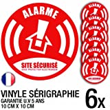 Lot de 6 autocollants / stickers Alarme sécurité / 10 cm