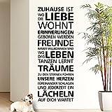 Wandaro E029 Wandtattoo Spruch Zuhause ist Wo die Liebe wohnt I Schwarz 58 x 155 cm I Zitat Aufkleber Flur Wandsticker Wandaufkleber