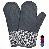 Heat Resistant Silicone Shell Kitchen Oven Mitts for 500 Degrees with waterproof, Set of 2 Oven Gloves with cotton lining for BBQ Cooking set Baking Grilling Barbecue Microwave Machine Washable Grey