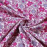2 Meter Stoff Baumwolle Popeline weiß Prilblume pink
