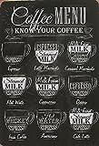 ComCard Coffee Menu Kaffee Typen übersicht Schild aus Blech Tin Sign
