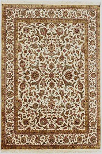 Arts of India indisch Handgeknüpft Jaipur Handgefertigt Blumen Design Beige Wolle 9X12 Bodenfläche Teppich -