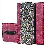 Nokia 8 Hülle, Nokia 8 (5,3 Zoll) Wallet Tasche Brieftasche Schutzhülle, Carols PU Lederhülle Flip Hülle im Bookstyle Cover Schale Stand Ständer Etui Karten Slot Schutzhülle Tasche Wallet Case für Nokia 8 (5,3 Zoll) - Rot