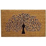 Black Ginger, tappetino decorativo grande in spessa fibra di cocco con disegni dal mondo della natura Tree