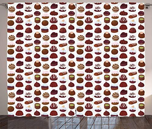 Rustikaler Vorhang, Bäckerei Süßwaren Patterns, Wohnzimmer Universalband Gardinen mit Schlaufen und Haken, 280 x 225 cm, Maroon Brown Burgund ()