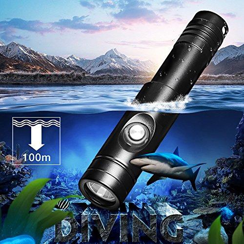 Odepro WD12 lampe de poche plongée sous-marine 1050 lumens rechargeable 100M plongée sous-marine torche