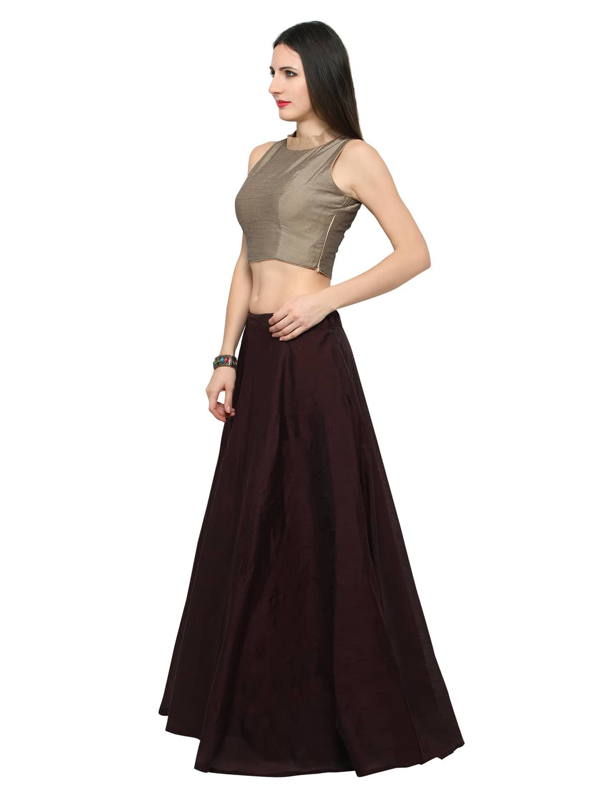 338b383bdc6 Inddus Women s Chanderi Cotton Semi-Stitched Lehenga choli (Brown ...