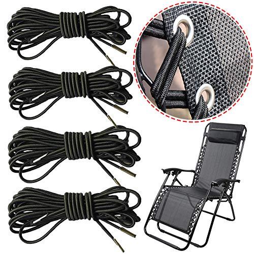 Lot de 4 cordons noirs élastiques universels de rechange Senma Electronics pour chaise longue Zero Gravity, transat inclinable de jardin, chaise longue et chaise à tendeurs élastiques