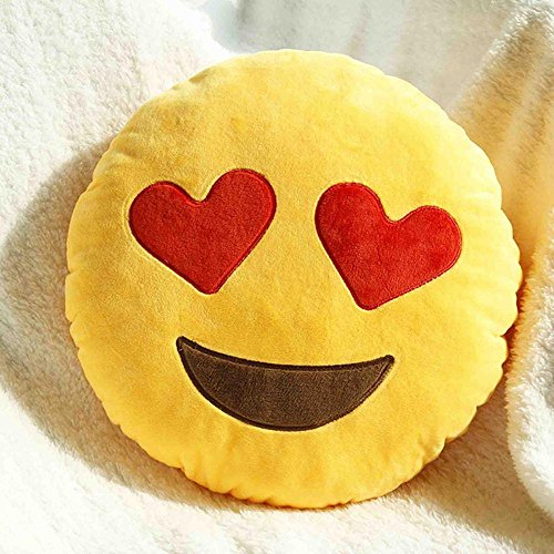 Cute smiling face with heart shaped eyes pillow cushion yellow, round cushion cover with filler, decorative pillow cases for sofa and bed 16x16 inches by Aart