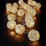 Luimode 20 LED Rattan Lichterkette Ball Fairy Light String Weihnachtsdeko/Hochzeiten/Geburtstag/Party Warmweiss, home desko