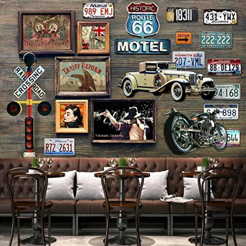 Carta Da Parati Route 66 Targa Murale Carta Da Parati Per Bar Sfondo Pareti Soggiorno Arredamento Carta Da Parati Pittura Carta Nonwovens, 200 * 140