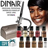 Dinair Airbrush Personal Pro Makeup Kit | DARK Shades | 10pc Make-up Set | Foundation, Multi-Purpose Colors for Blush, Shimmer, Concealer, Eyeliner | Plus Shadow/Brow Stencils by Dinair Airbrush Makeup