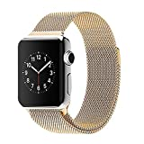 OKCS Apple Watch Bracelet Milanais Acier Inoxydable Fermoir Magnétique Band Strap Stainless Steel Adaptateur 38 mm Series 1, Series 2, Edition - or