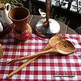 Kochlöffel aus Olivenholz mit rundem Stiel und einer Ecke, ca. 30cm im 2er set