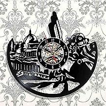 AKJC Reloj De Pared Radiation Theme Black Vinyl 3D Wall Clock Retro Art Sticker Home Decor
