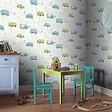 Tapete Kinderzimmer Autos Bus LKW Stadt | schöne grün blau türkise niedliche Tapete für Jungen und Mädchen | inklusive der Newroom-Tapezier-Profi-Broschüre, mit super Tipps zum Tapezieren!