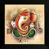 #5: SAF 'Ganesh' Religious Modern Art UV Textured Framed Painting ( 34 cm x 2 cm x 34 cm)
