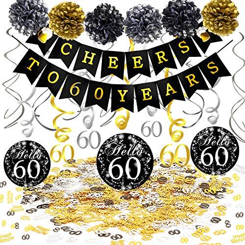 Dekoration Set, Cheers Zum 60. Geburtstag Banner und Folie Spirale Girlande, Happy Birthday & Zahl 60 Konfetti, Pom Poms für Männer und Frauen 60. Geburtstag deko schwarz Gold ()