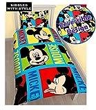 Leuchtende Micky-Maus-Bettwäsche für ein Einzelbett, Disney Mickey Mouse Print, 135CM X 200CM (53IN X 78IN)