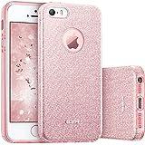 Coque iPhone SE, ESR Bling Bling Gliter Sparkle Coque iPhone 5 / 5S / SE Paillette [ Ultra Mince ] Housse Etui Premium Coque pour Apple iPhone SE / 5S / 5 (Or Rose)