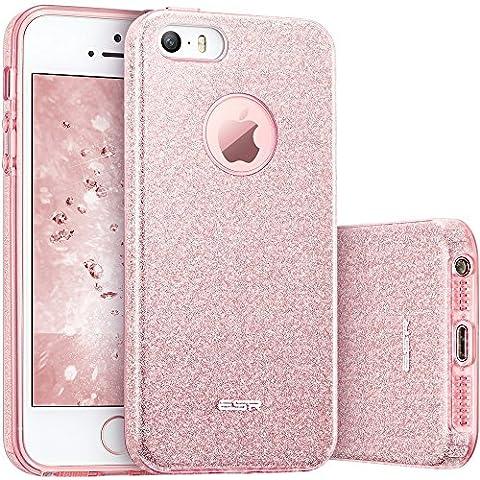 iPhone SE Hülle, ESR® Glitzer Schutzhülle [Weiche TPU Abdeckung + Glitzer Papier + PP innere Schicht] [Drei in Einem] Hülle für iPhone SE 5S 5 (Rosygold)