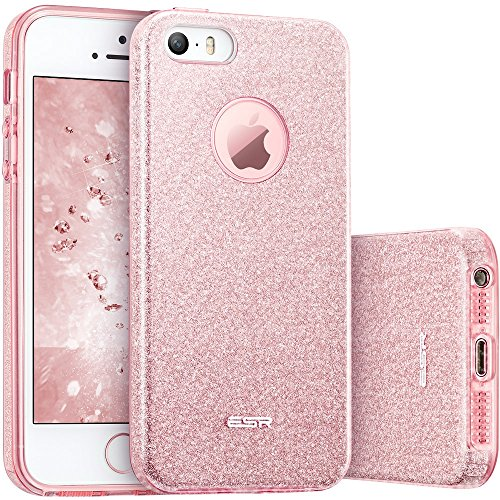Coque iPhone SE Rose, ESR iPhone 5s / 5 / SE Coque Silicone Paillette Strass Brillante Bling Bling Glitter de Luxe, Bumper Housse Etui de Protection [Ultra Fin] [Anti Choc] pour Apple iPhone 5 / 5 S / SE (Série Glamour, Or Rose Pailleté)