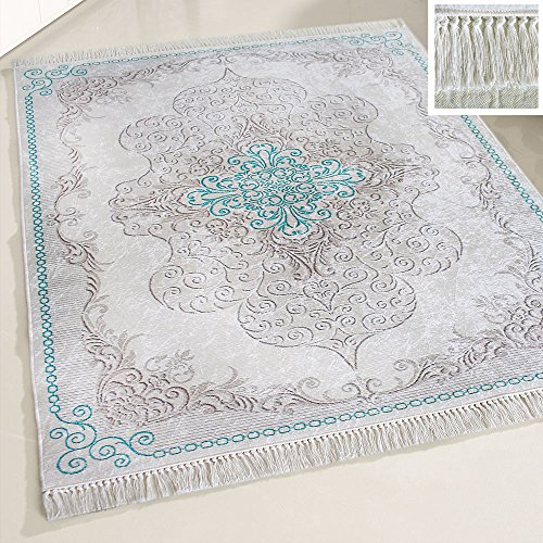 mynes Home Teppich waschbar Türkis mit Medaillon Muster waschmaschinengeeignet rutschhemmend Modern Designer Bad Flur Küche Läufer mit Bordüre (120 x 170 cm)