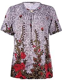 Womens Plus Size Flower Rose Printed Ladies Short Sleeve Stud Beaded T-Shirt Top